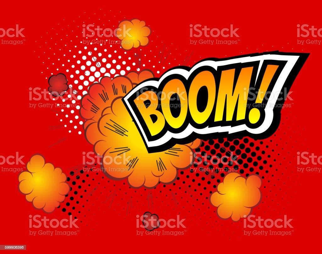 Boom. Vector Retro Comic Speech Bubble, Cartoon Comics Template. Mock vector art illustration