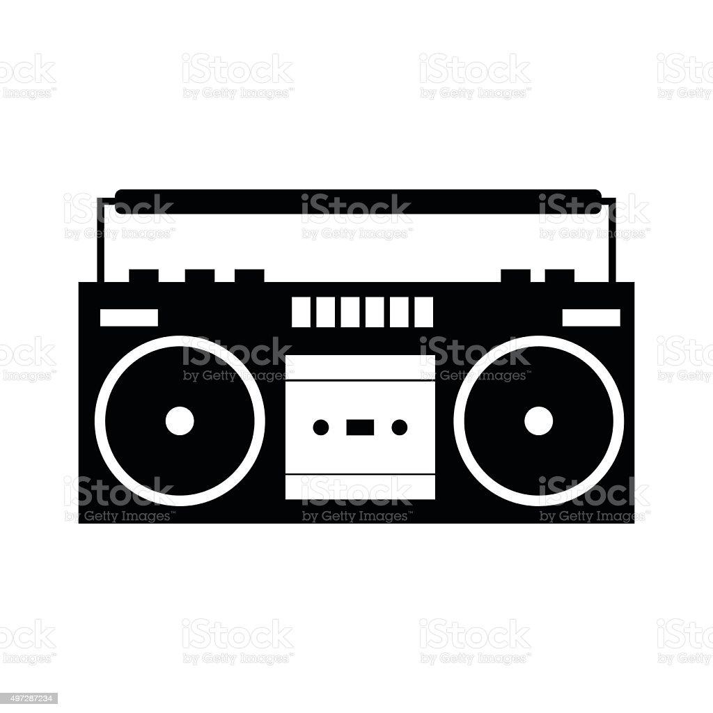 Boombox black simple icon vector art illustration