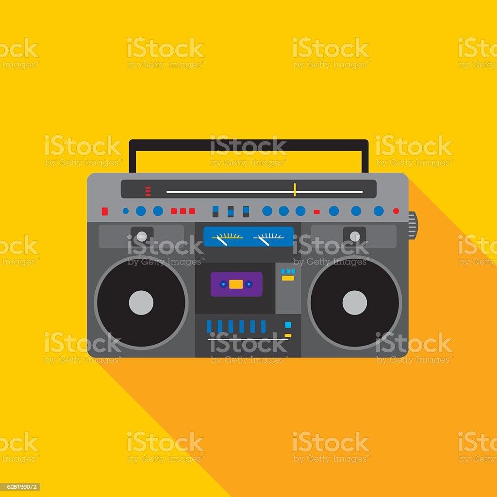 Boombox Icon Flat vector art illustration
