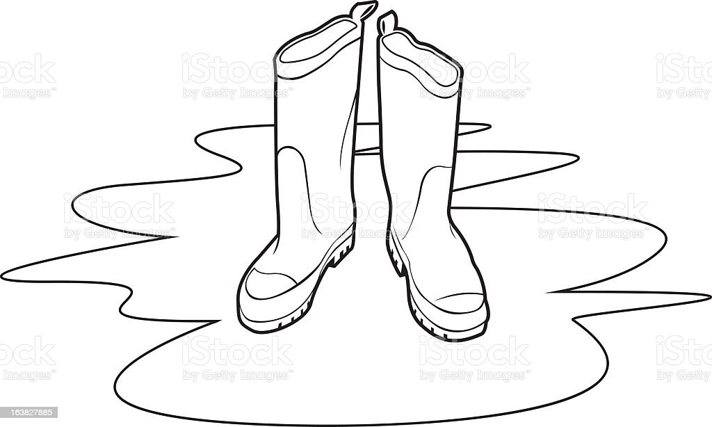 Boots in water puddle vector art illustration