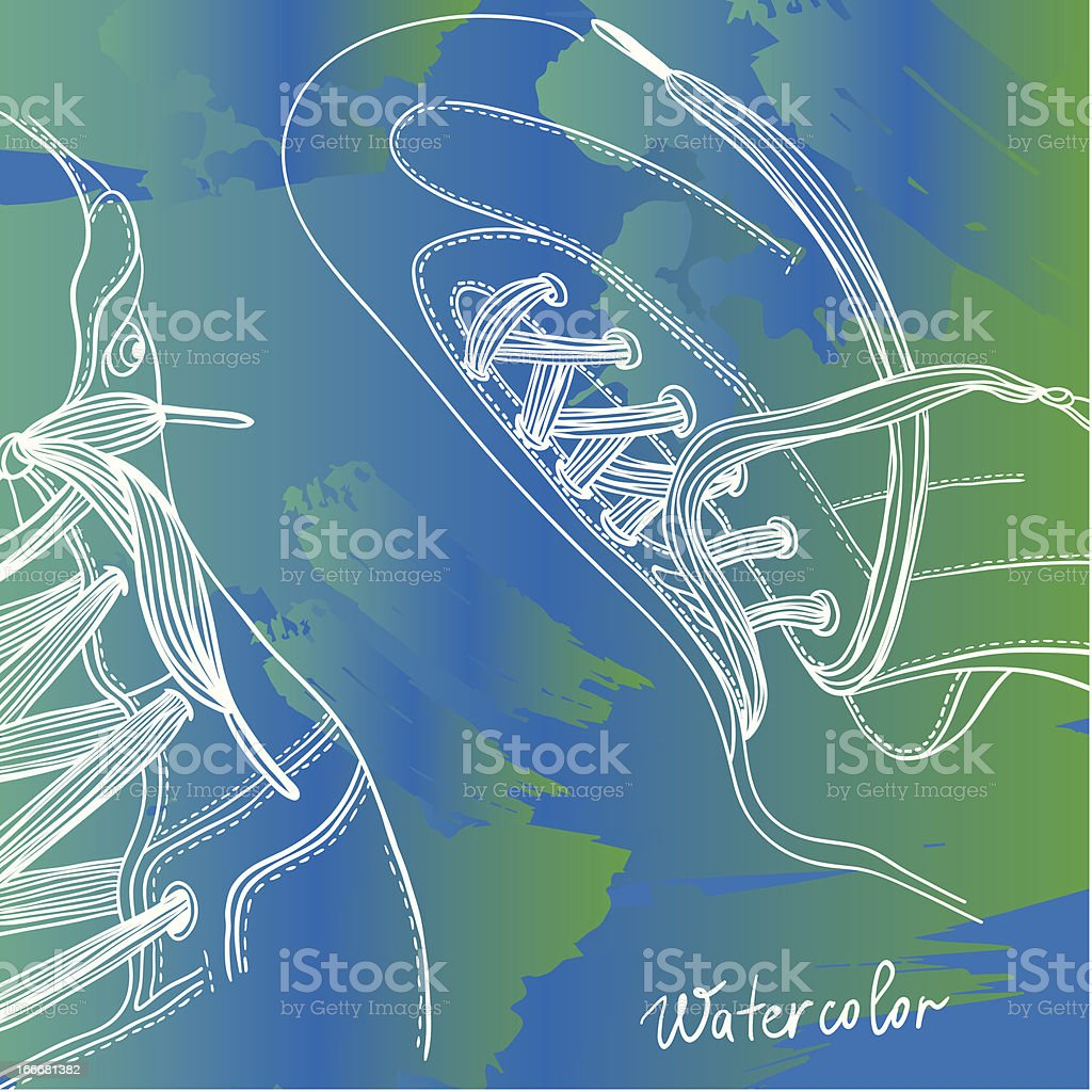 Boots with lacing water color drawing royalty-free stock vector art