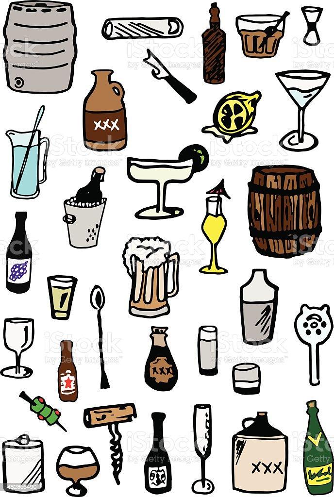 Booze Doodles vector art illustration