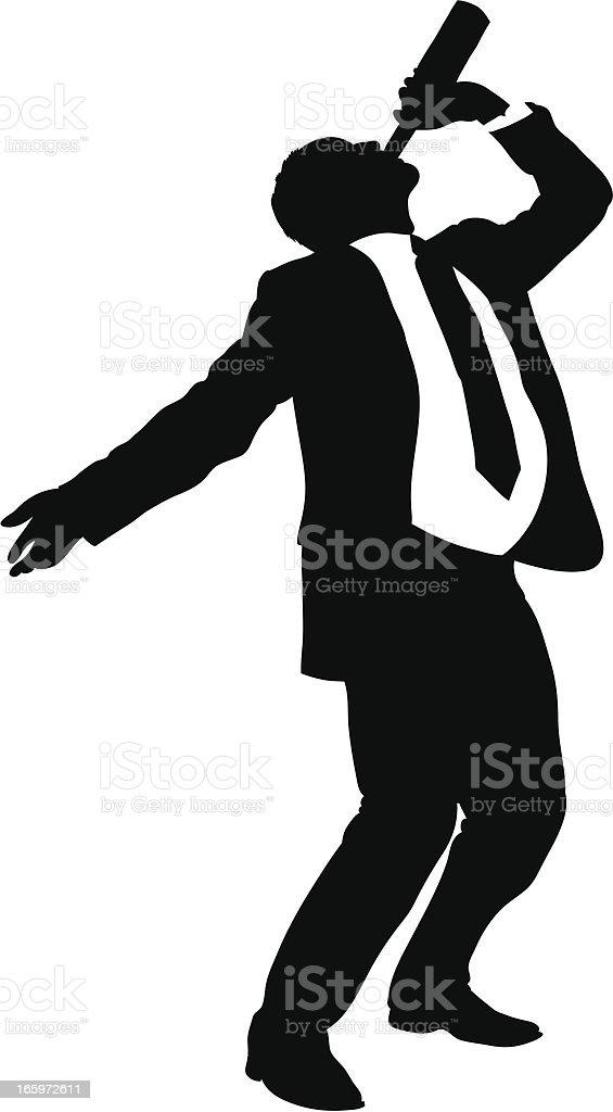 Boozing Businessman vector art illustration