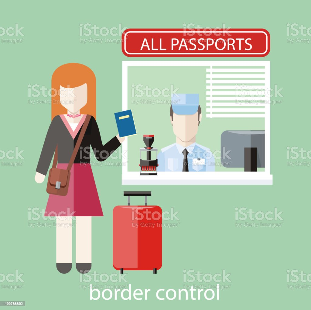 Border control concept vector art illustration