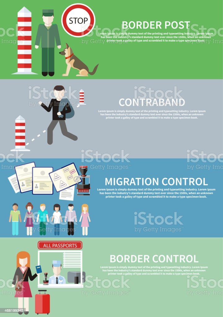 Border control, contraband, and migration post sign vector art illustration