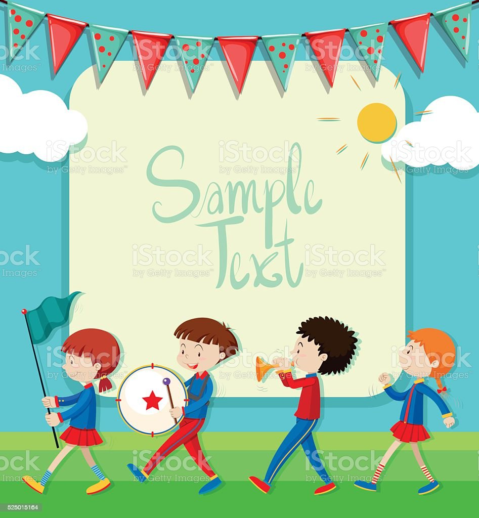 Border design with band marching in the park vector art illustration