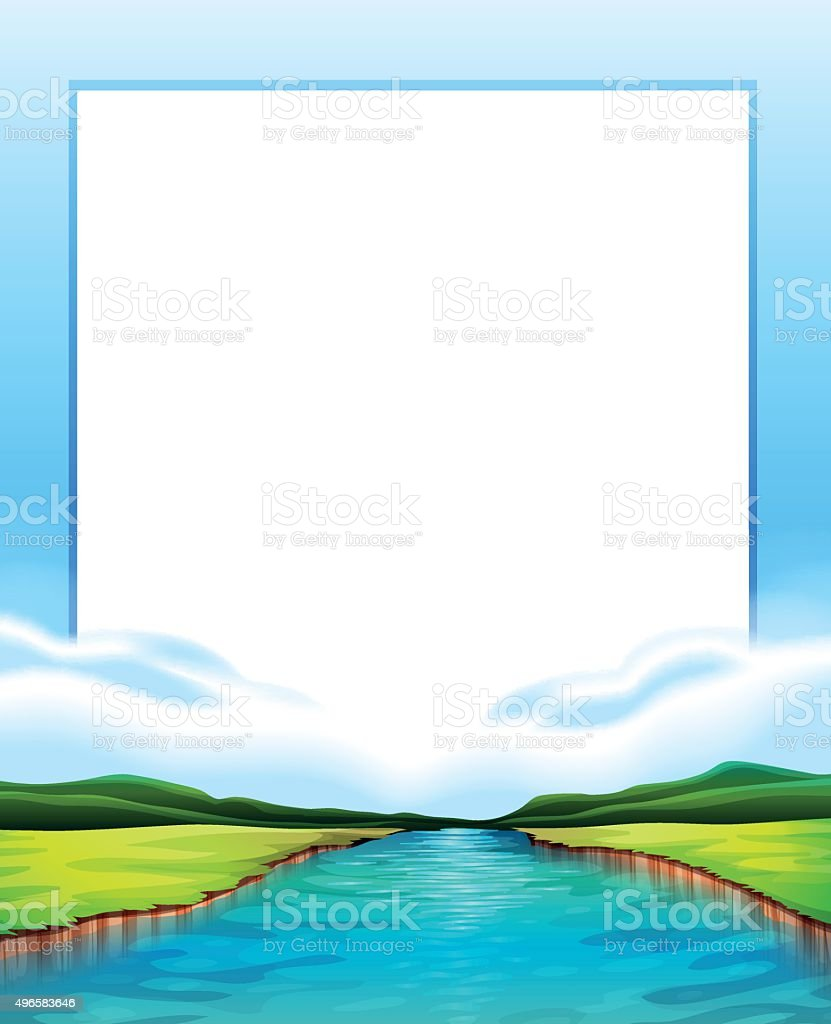 Border design with river scene vector art illustration