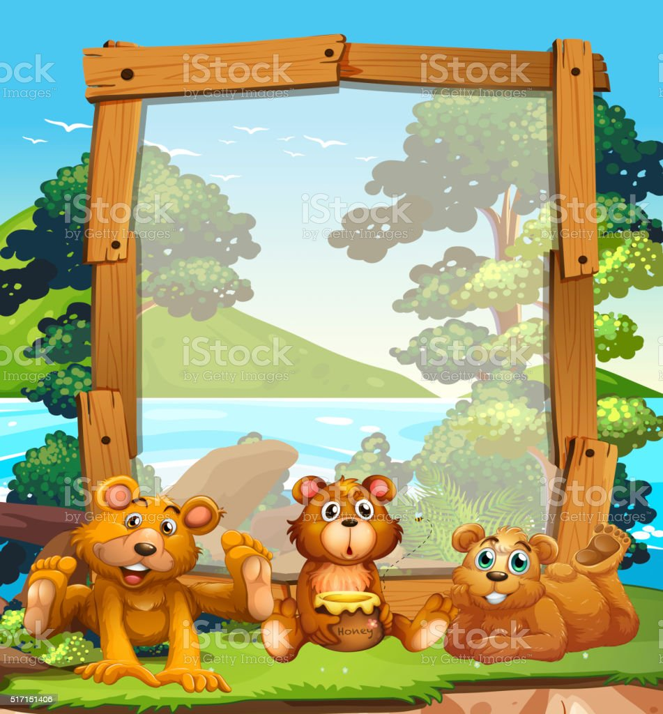 Border design with three grizzly bears by the lake vector art illustration