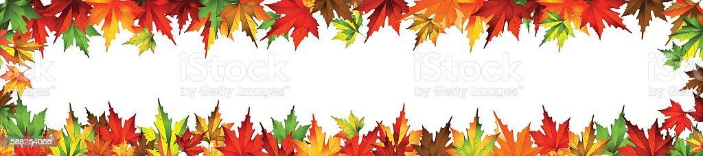border frame autumn leaves isolated on white vector art illustration