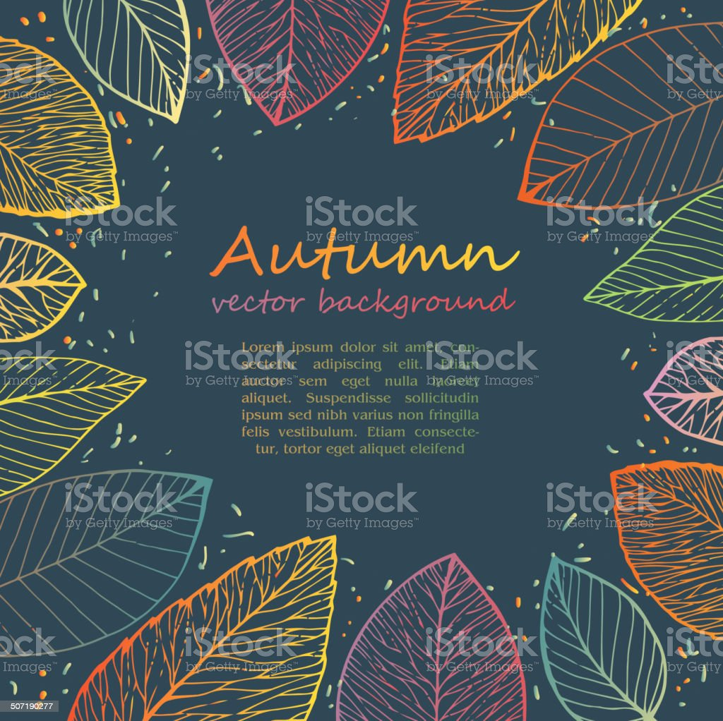 border frame of colorful autumn leaves vector art illustration