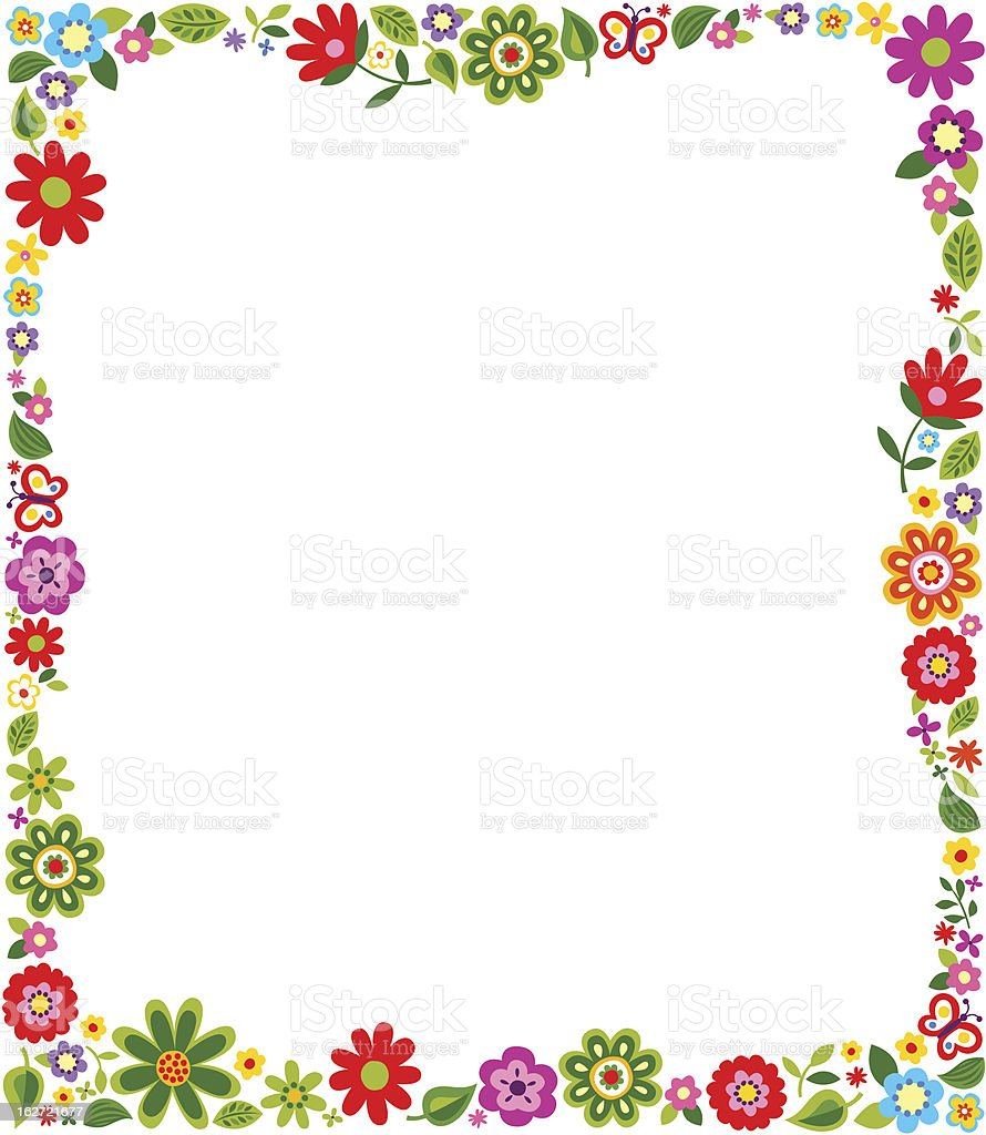 Border frame with floral pattern vector art illustration