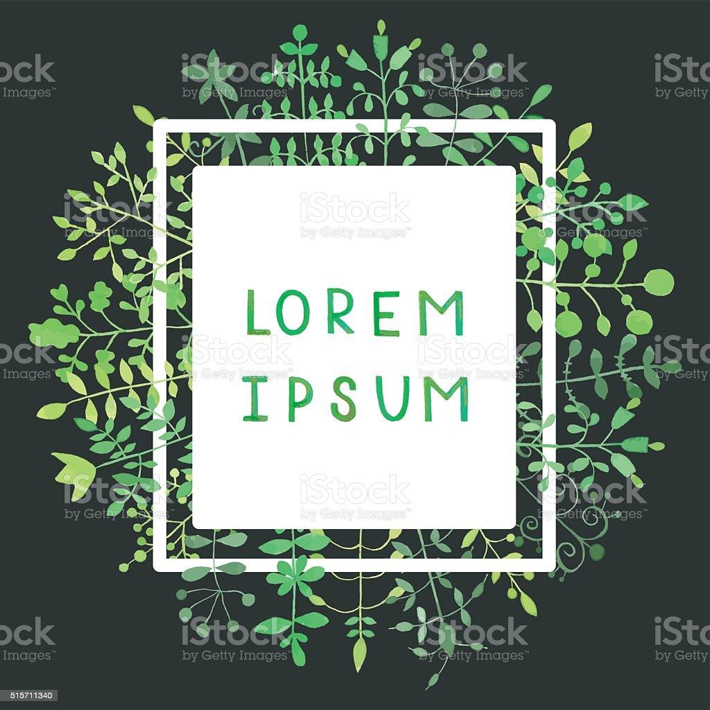Border frame with watercolor green herbs background. vector art illustration