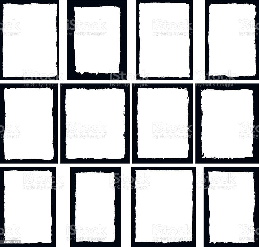 Border frames isolated on white vector art illustration
