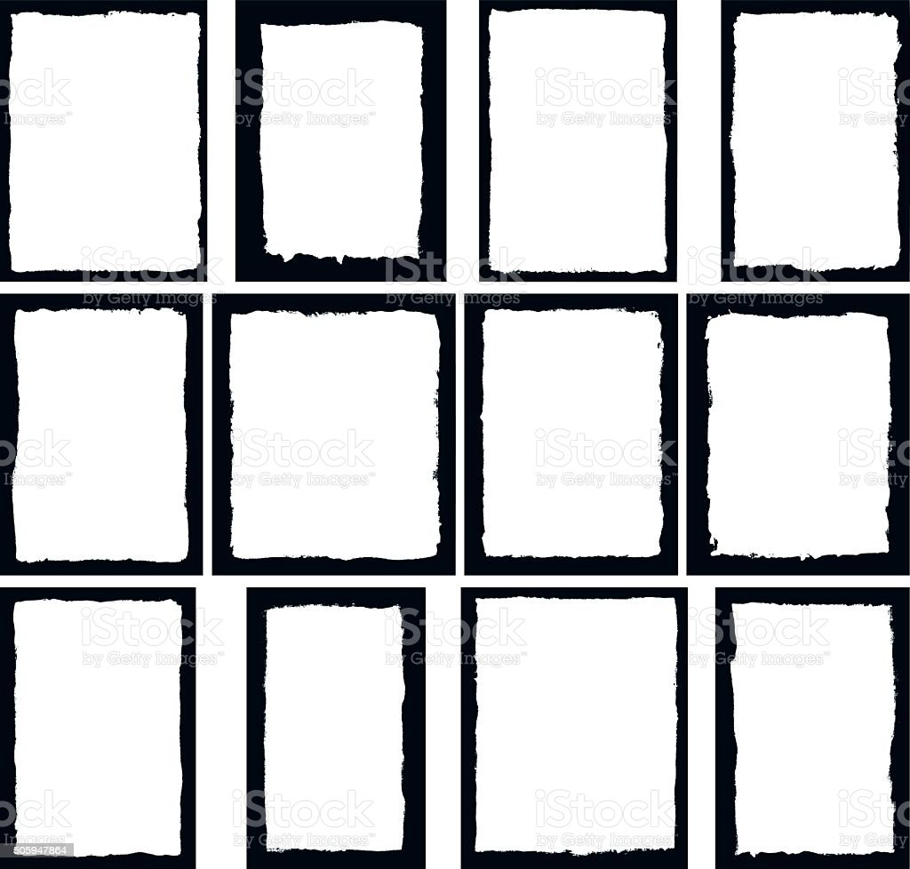 Border frames isolated on white vector art illustration