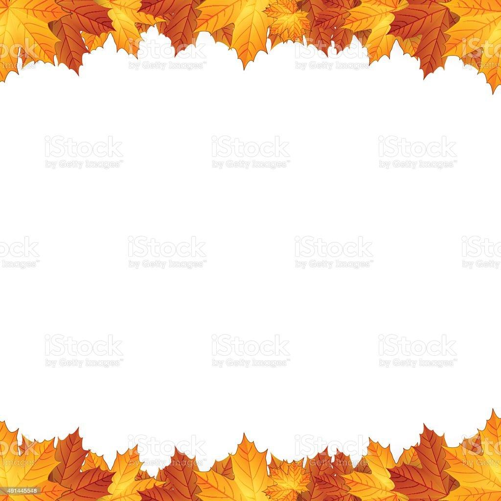 Border of autumn maples leaves. vector art illustration