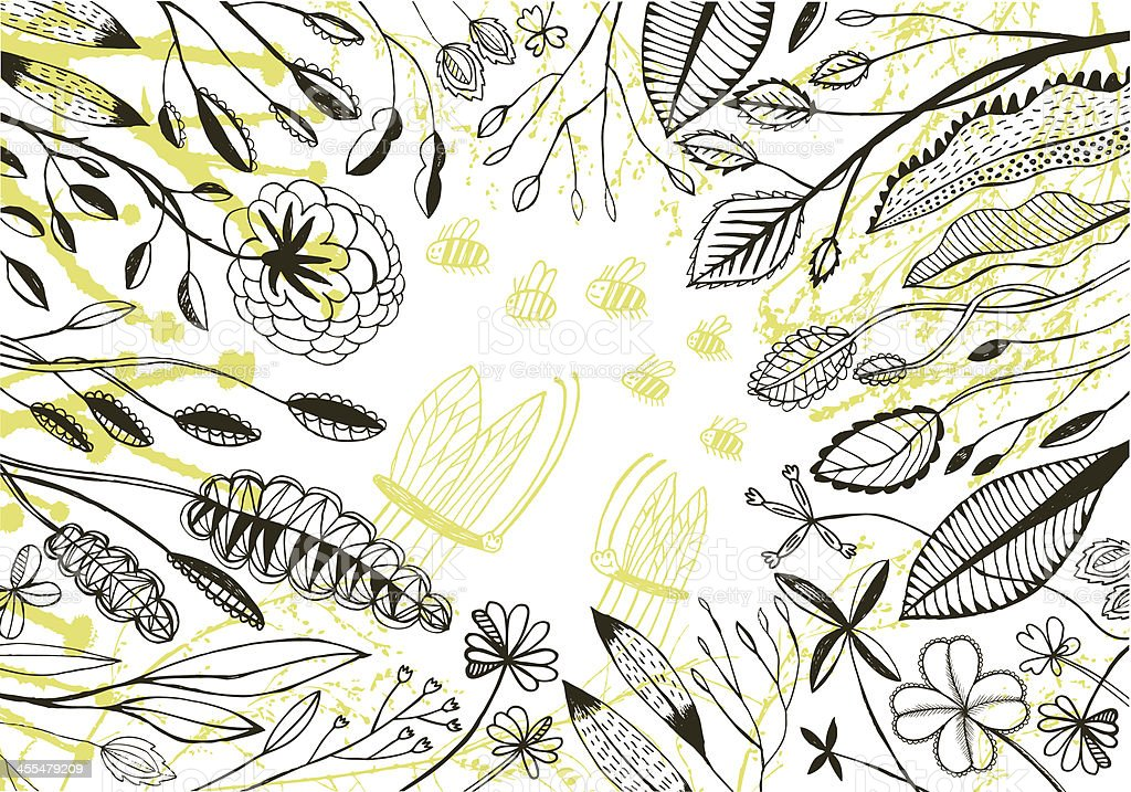 Plants, flowers and tiny insects vector art illustration