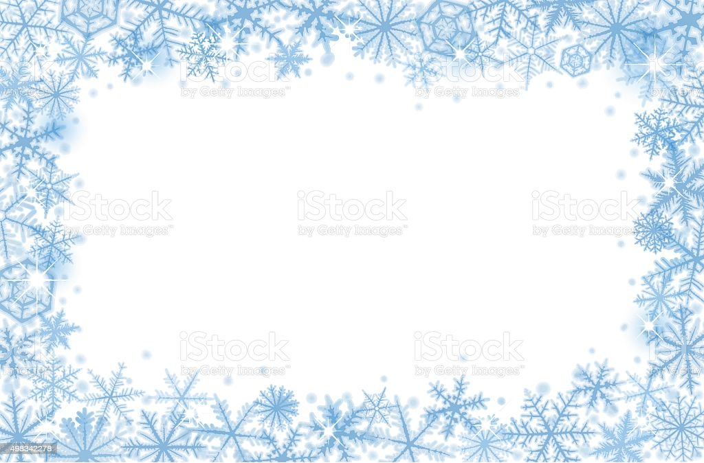 Border of snowflakes vector art illustration
