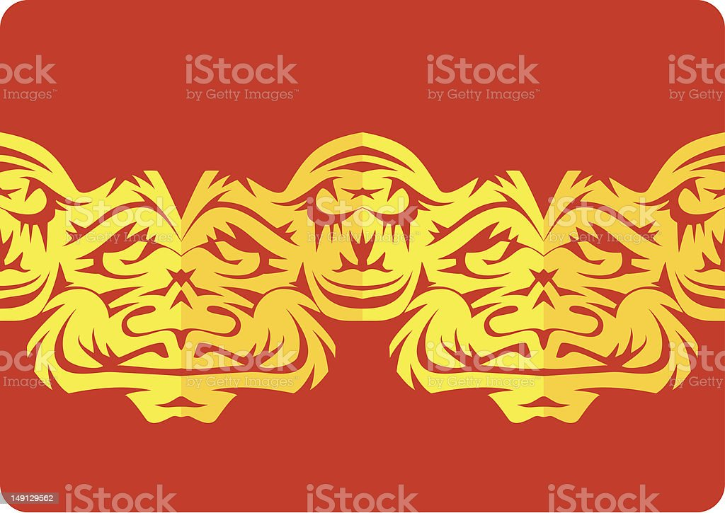 border ornamental paper cut with faces royalty-free stock vector art