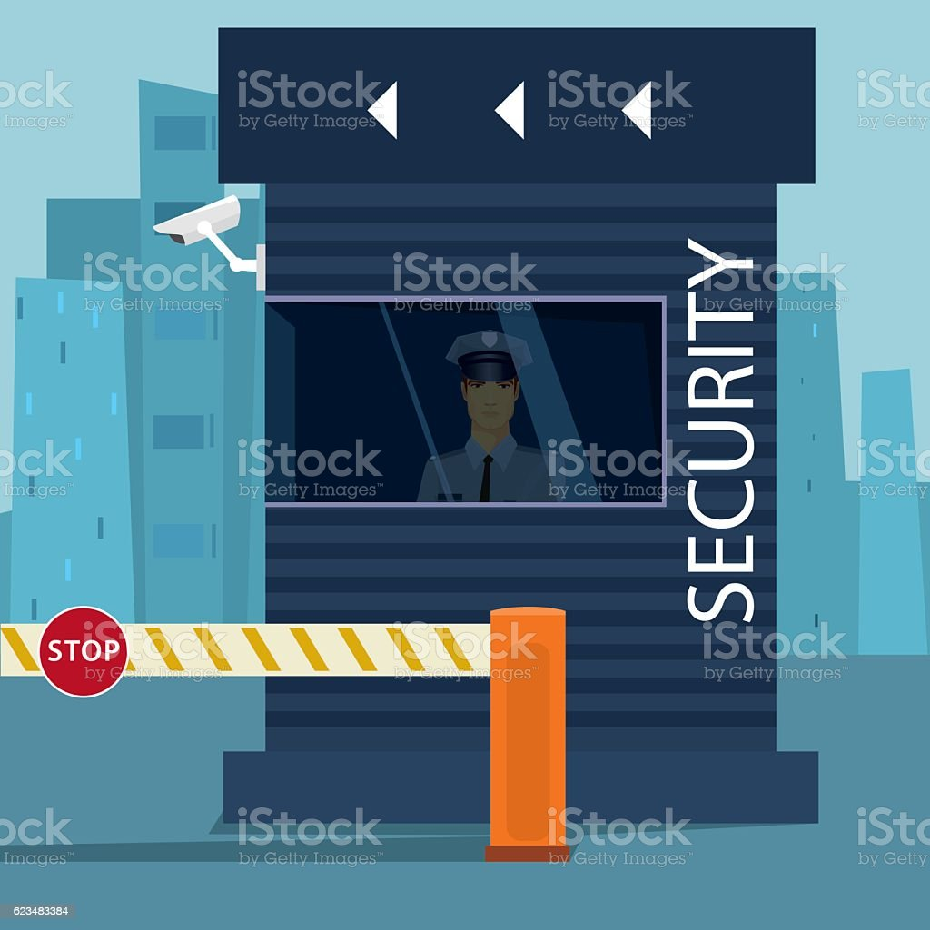 Border passport control or security checkpoint vector art illustration