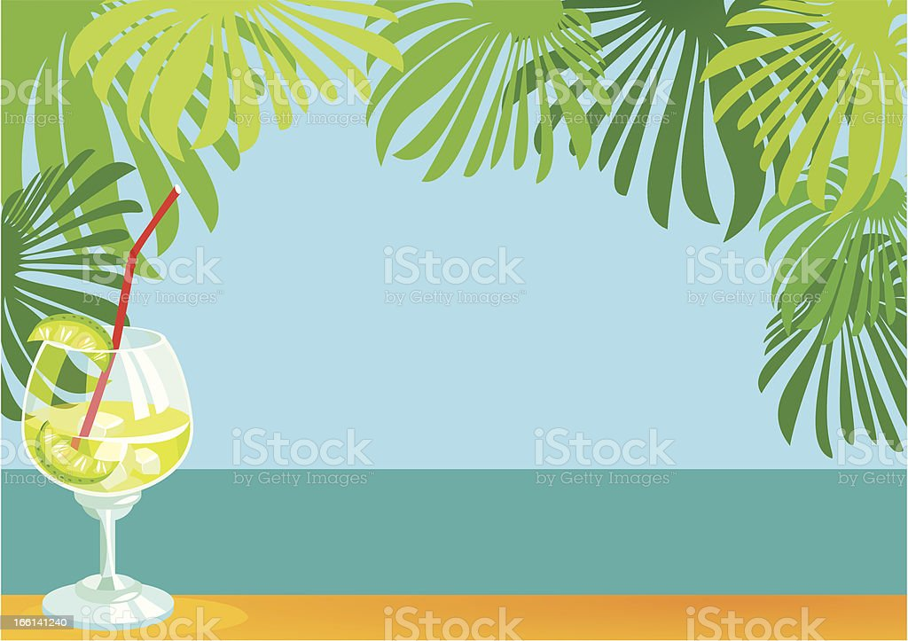 border with cocktail and sea landscape royalty-free stock vector art