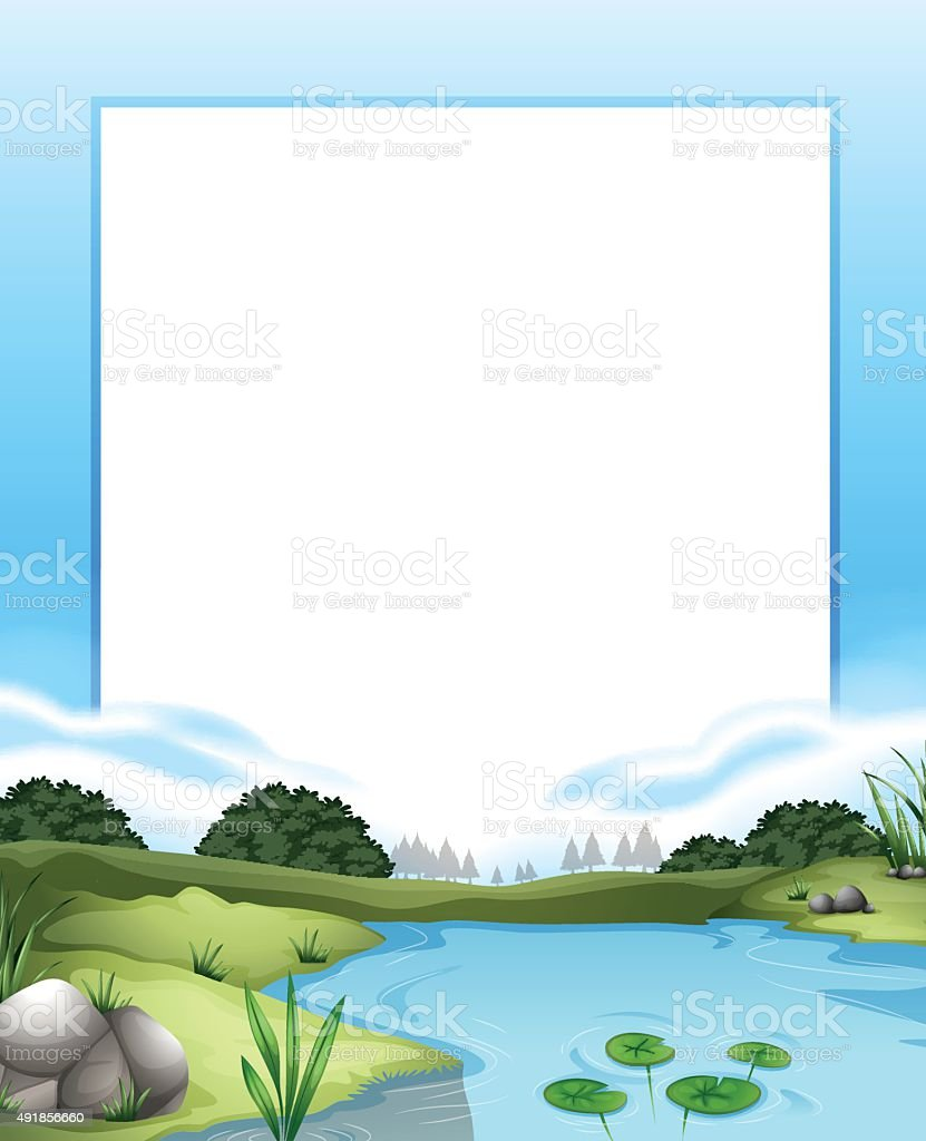 Border with river scene background vector art illustration