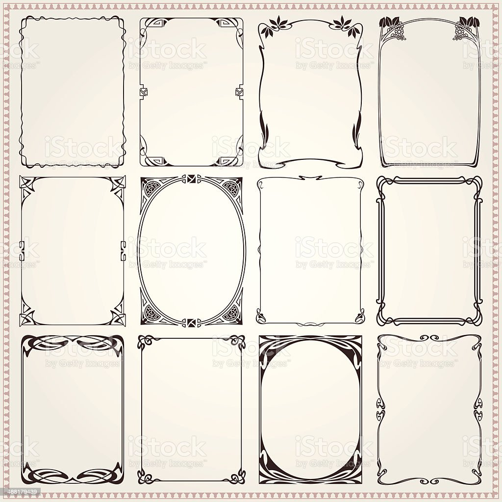 Borders And Frames Art Nouveau Style vector art illustration