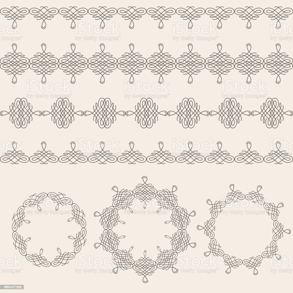 Borders and round frames set collection in calligraphic retro style isolated on beige background. vector art illustration