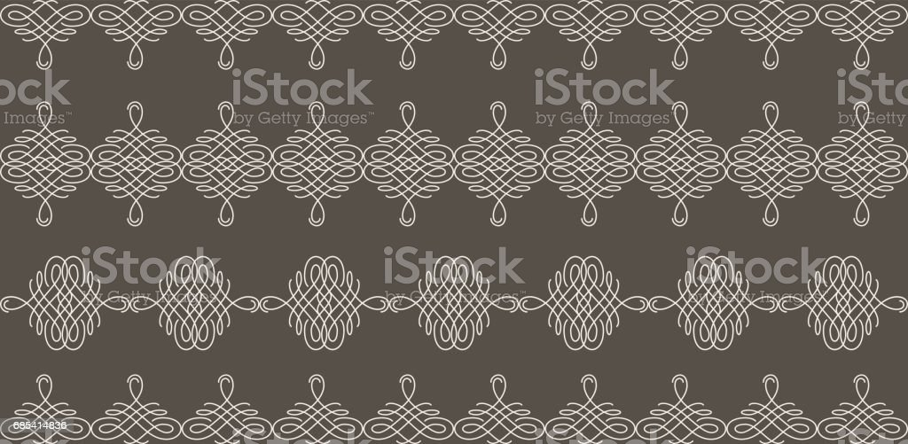 Borders set collection in calligraphic retro style in beige color isolated on brown background. vector art illustration