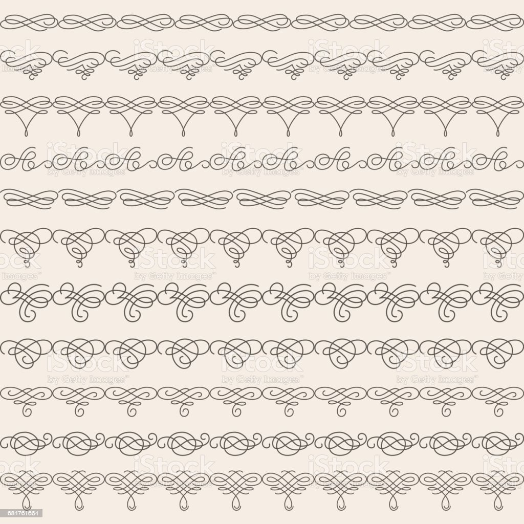 Borders set collection in calligraphic retro style isolated on beige background. vector art illustration
