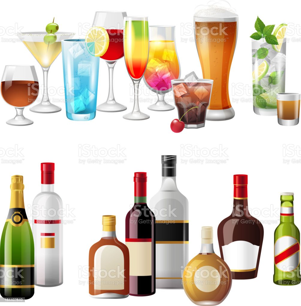 Borders with alcohol drinks royalty-free stock vector art