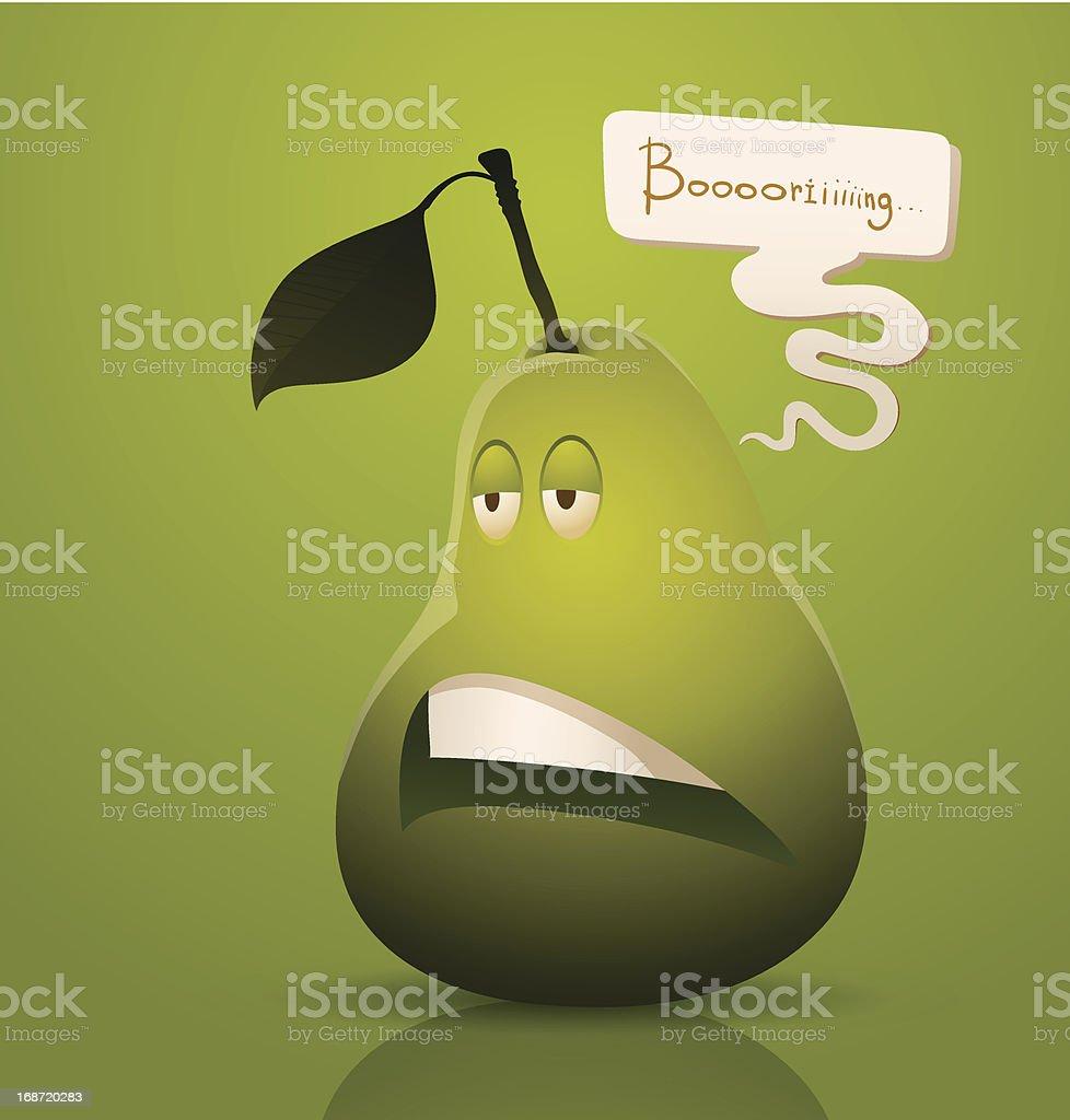 Bored cartoon pear royalty-free stock vector art