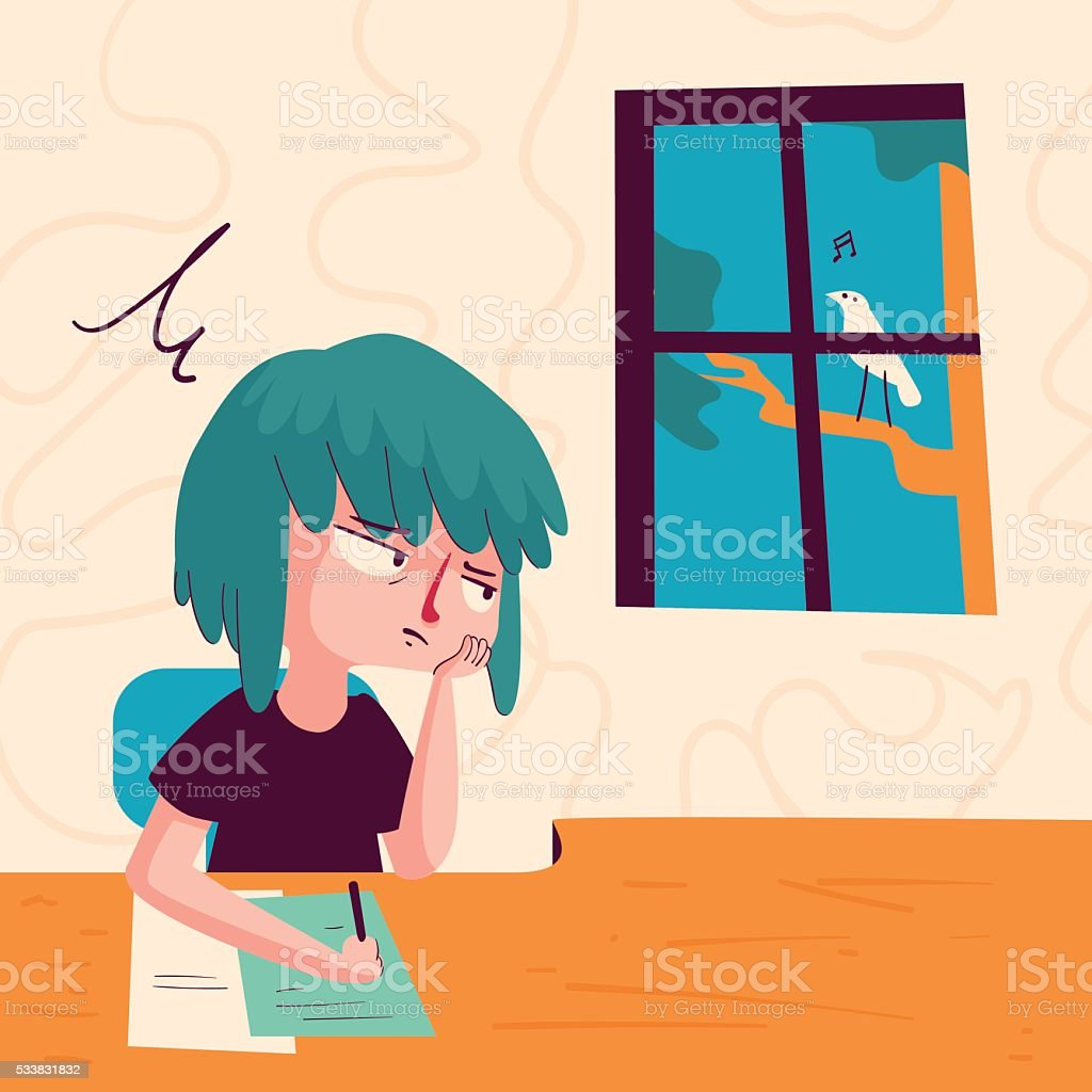 Bored Girl Looking out of Window vector art illustration
