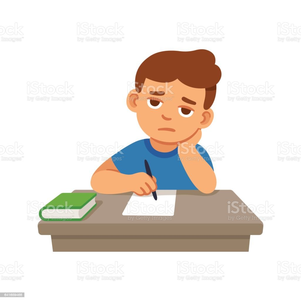 Bored kid at school vector art illustration