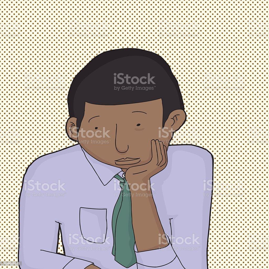 Bored Man in Necktie vector art illustration