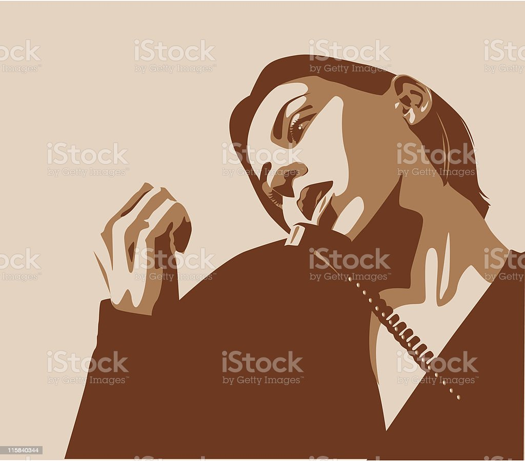 Bored Woman on the Phone vector art illustration
