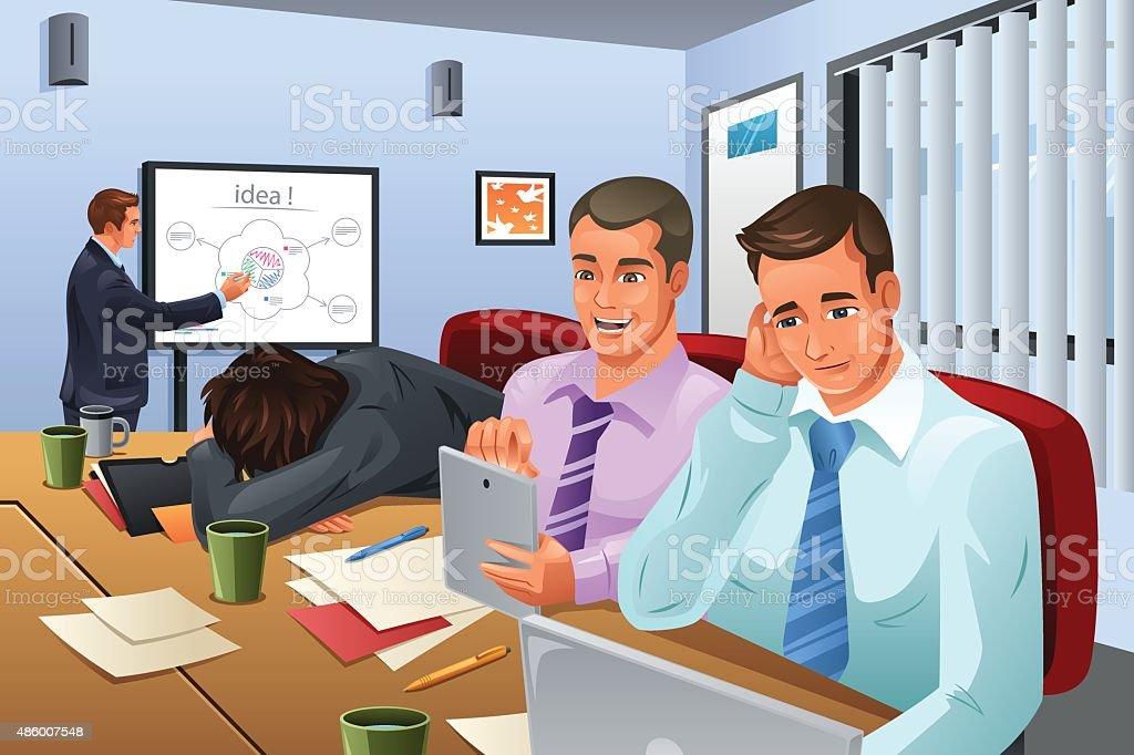Boring Business Meeting vector art illustration