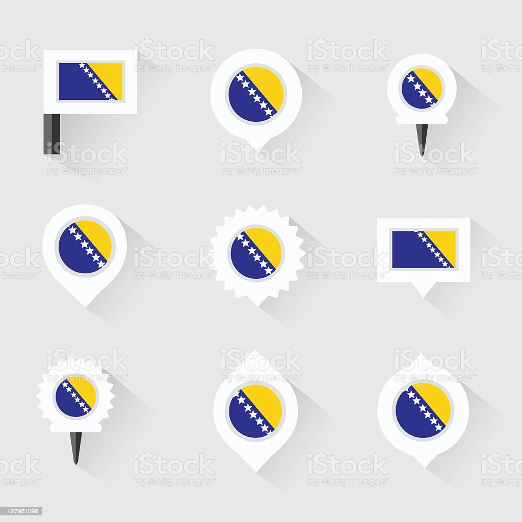 bosnia and herzegovina flag and pins for infographic vector art illustration