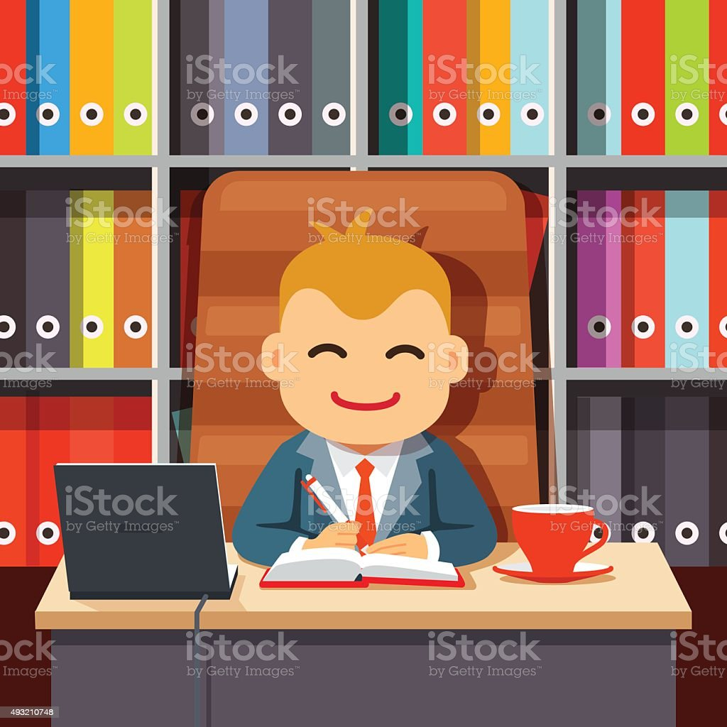 Boss CEO sitting at the desk in directors chair vector art illustration