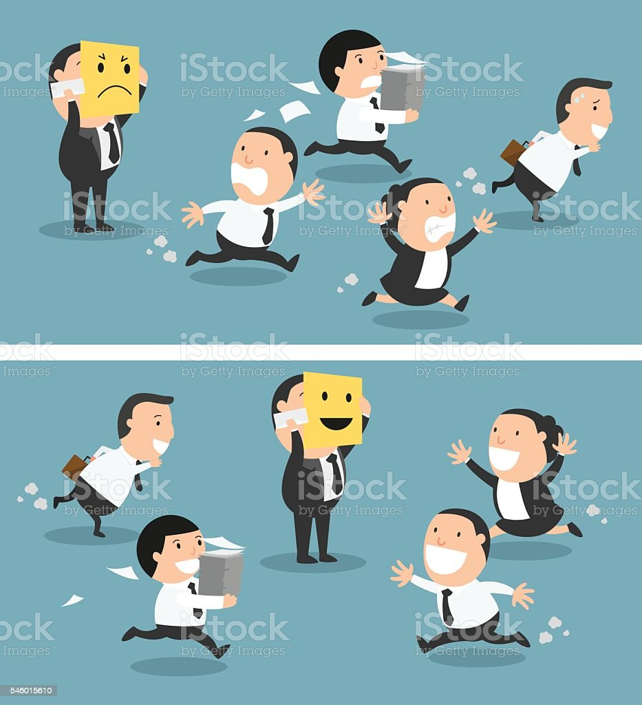Boss changing his mood from bad to good,vector vector art illustration