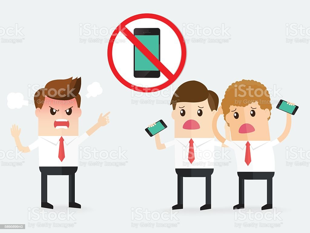 boss complaining to businessman, sign of no cell phone use vector art illustration
