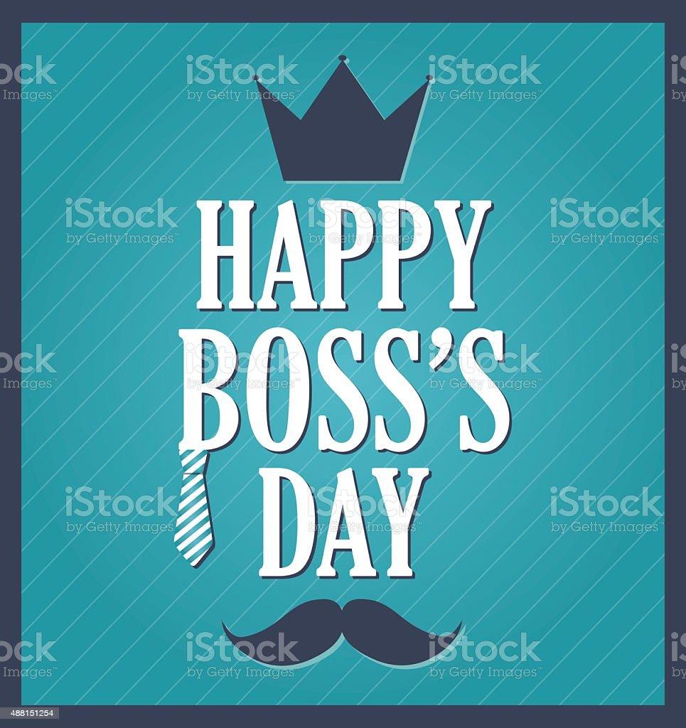 Boss Day greeting template. Blue background, dark blue frame vector art illustration