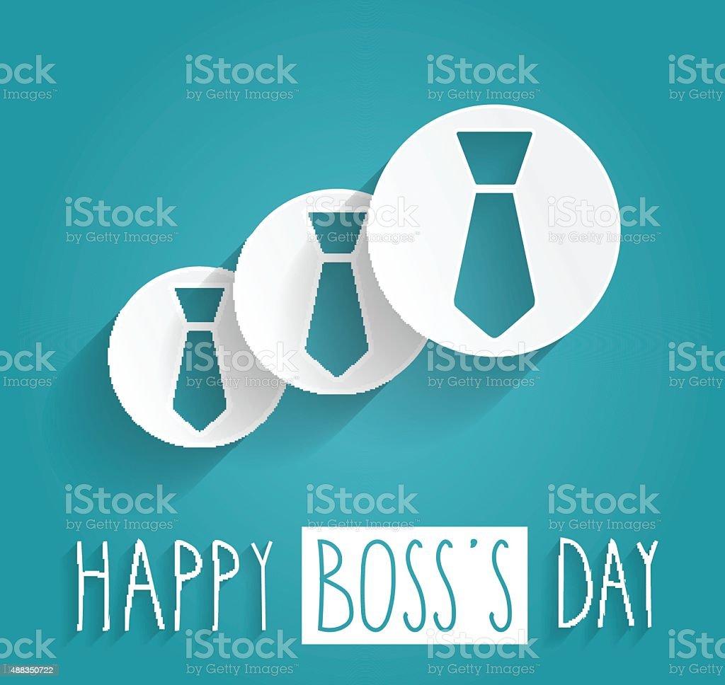 Boss Day handwritten text. Blue background vector art illustration