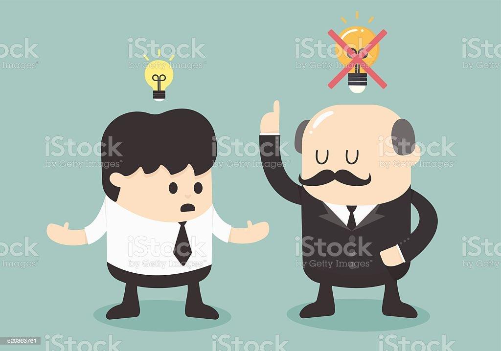 Boss dislike the ideas vector art illustration