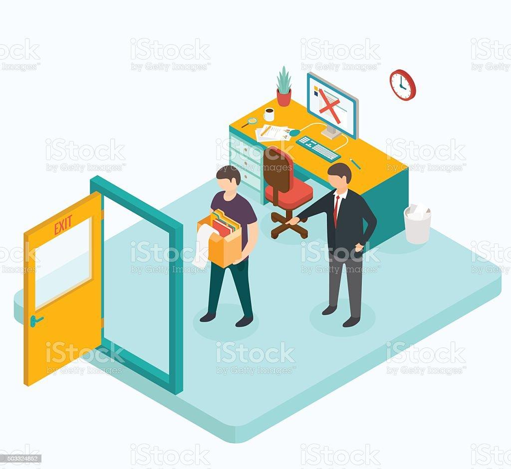 Boss dismissed employee. Isometric 3d vector illustrations vector art illustration