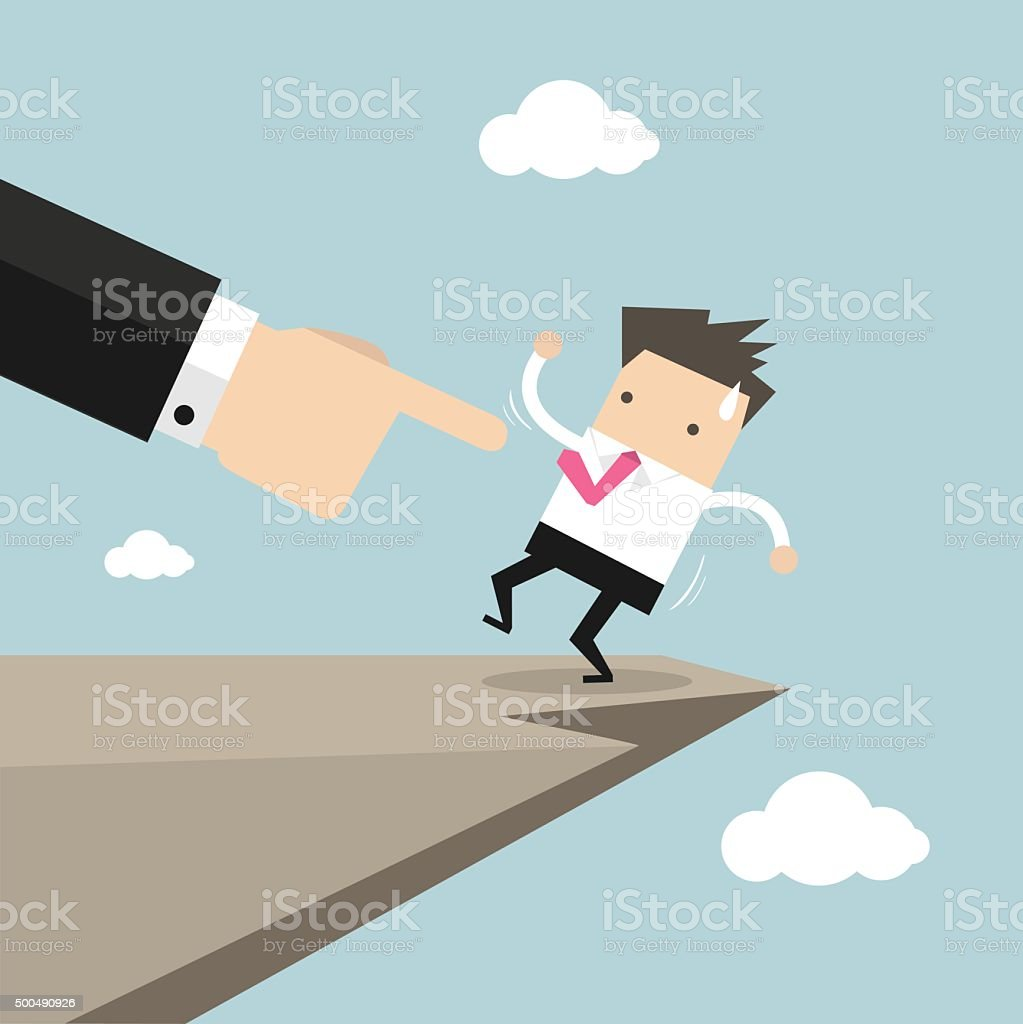 Boss hand pushes businessman to make him fall from cliff vector art illustration