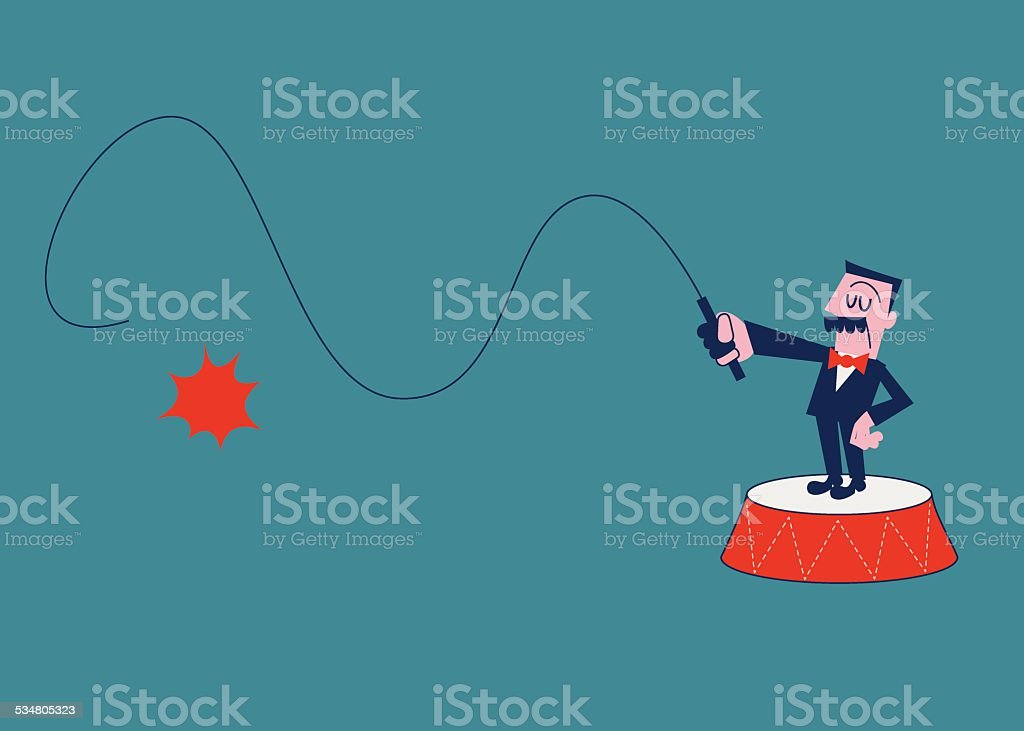 Boss Holding A Whip vector art illustration