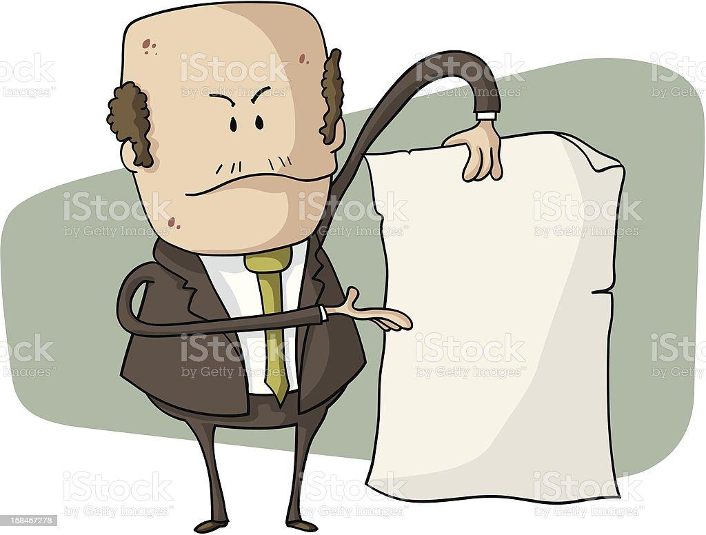 boss holding empty write paper royalty-free stock vector art