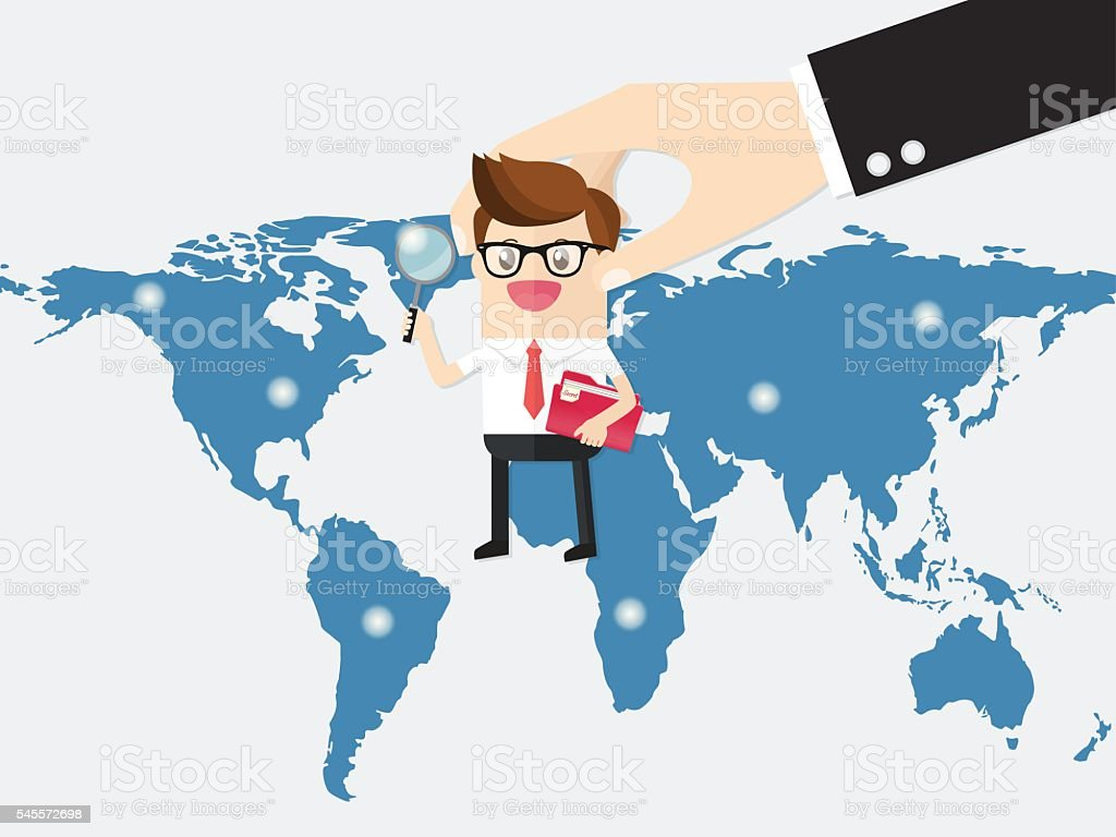 boss sending employee or auditor to branches business franchise vector art illustration