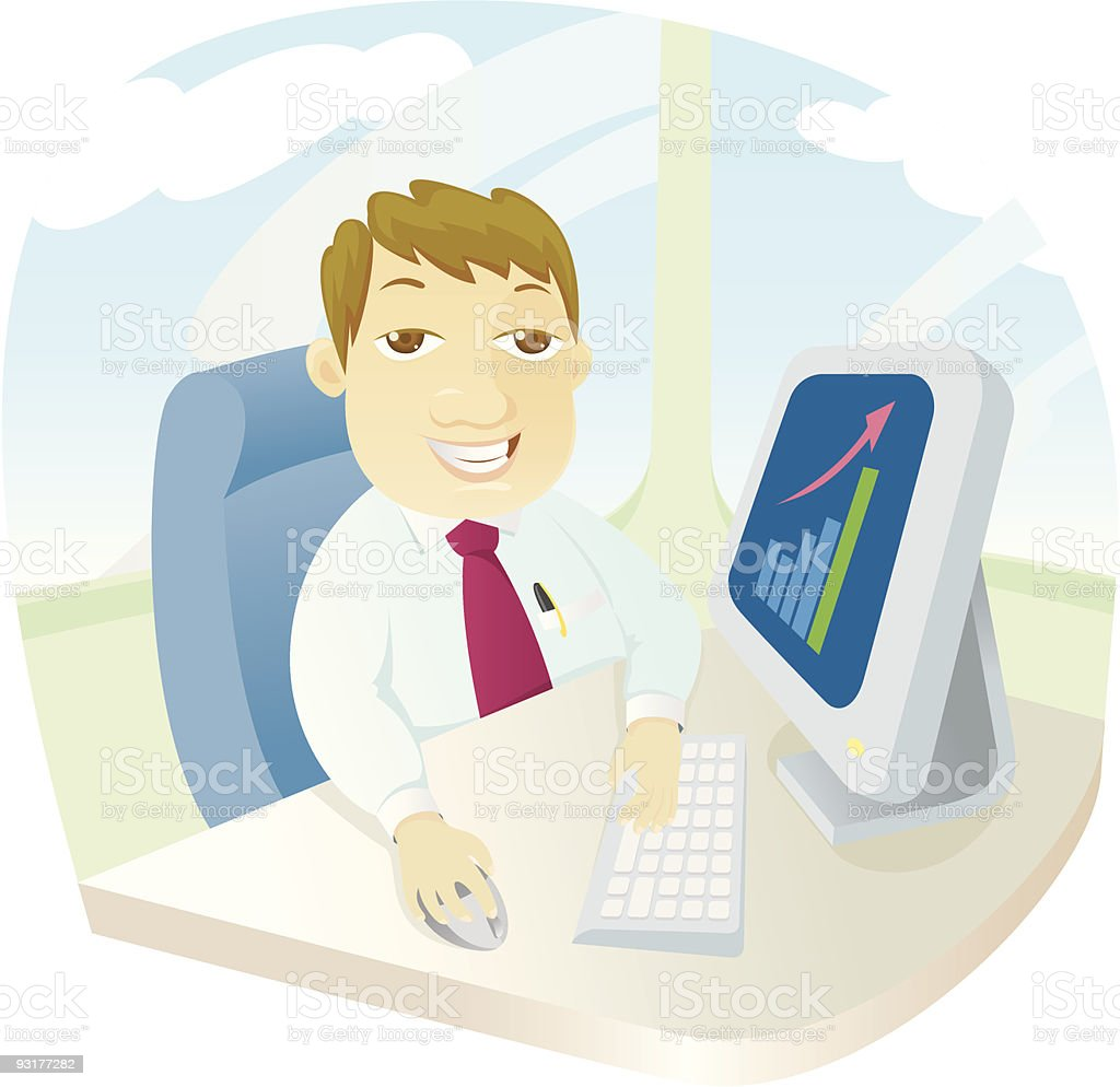 Boss shows his graph royalty-free stock vector art