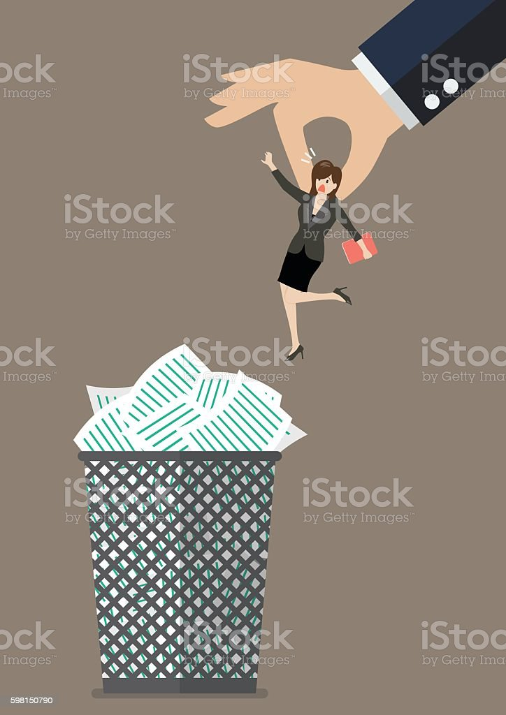 Boss throws a business woman in the trash can vector art illustration